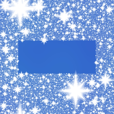 hoarfrost: Frame from white snowflakes on a blue background with rectangle space for adding your content. Stock Photo