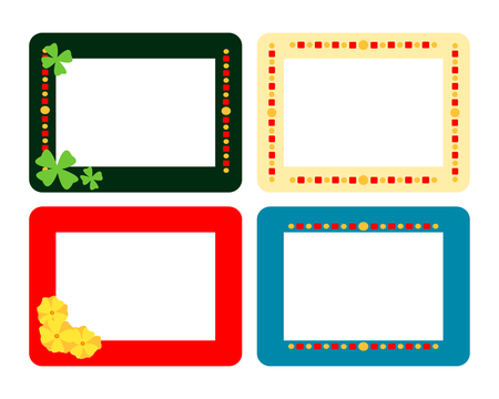 four fourleaf: Set of four decorative flat frames with fourleaf, flowers and spots Vettoriali