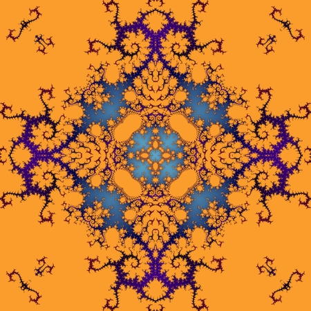 able: Abstract decorative ornamental orange purple blue seamless pattern in art nouveau style Stock Photo