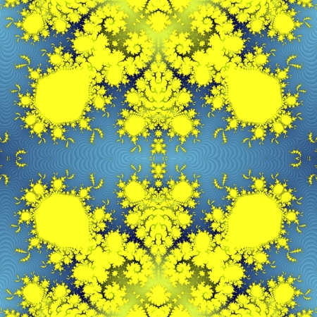 Yellow seamless fractal ornamental pattern on soft gradient blue background - computer generated design element