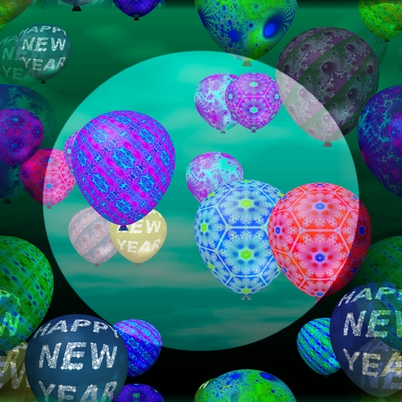 brighter: Decorative party air balloons with inscription Happy New Year and abstract patterns. Middle of the picture is brighter circularly bounded space for adding text.