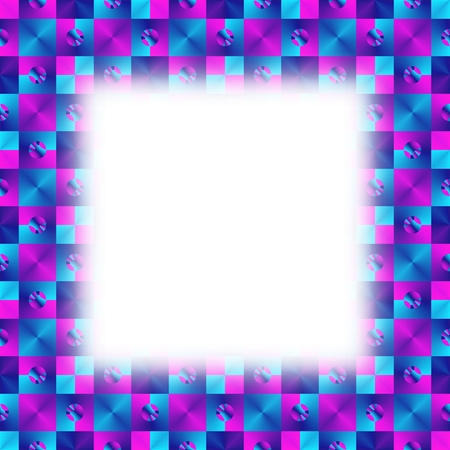 conspicuous: Blue purple geometric pattern with blurred clear white copyspace Stock Photo