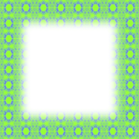 lining: Green blue fractal border with blurred edge lining the white clear area