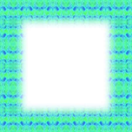 lining: Turquoise fractal border with blurred edge lining the white clear area Stock Photo