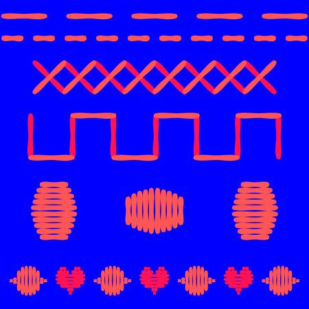 sampler: Puntos Swatch. Puntada recta, puntos de sutura de la pared, bordado cruz, puntada de sat�n, bordados plana. Dibujo vectorial sencillo Roja, aislado en azul.