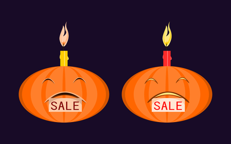 samhain: Halloween pumpkin with burning candle on his head and a tag sale in the mouth. Simple flat vector illustration. Isolated on dark background.