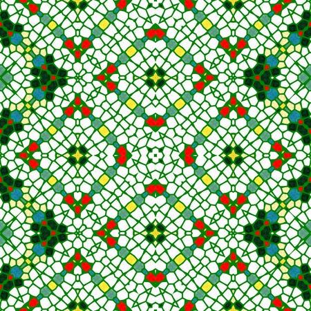paving stones: Seamless regular green kaleidoscope mosaic pattern - digitally rendered graphic