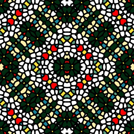 black white red: Seamless regular kaleidoscope mosaic pattern - abstract black white red background - digitally rendered graphic