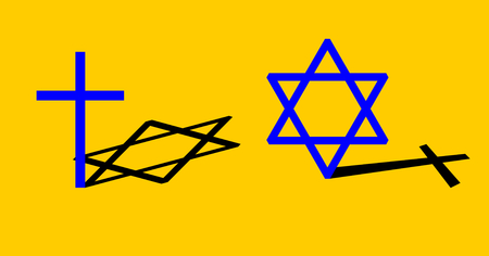 involuntary: Interconnection between Christianity and Judaism concept. Big blue cross casting black shadow in the shape of the hexagram and vice versa. Isolated on yellow. Vector simple stylized icons or banner.