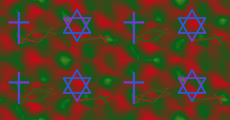 concurrence: Interconnection between Christianity and Judaism concept. Cross and big hexagram with different shadow. Colorful seamless background.