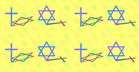 hexagram: Relation between Christianity and Judaism concept. Big cross and big hexagram with different shadow. Colorful seamless background. Stock Photo