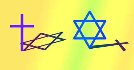 hexagram: Interconnection between Christianity and Judaism concept. Big cross and big hexagram with different shadow. Colorful seamless background.