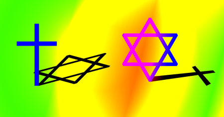 concurrence: Interconnection between Christianity and Judaism concept. Big cross and big hexagram with different shadow. Colorful background. Stock Photo