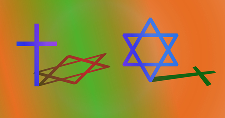 hexagram: Interconnection between Christianity and Judaism concept. Big cross and big hexagram with different shadow. Colorful background. Stock Photo