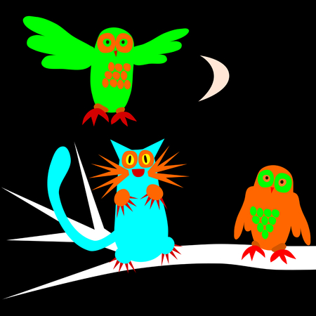 waxing: Psychedelic scary owls and cat under waxing moon Illustration