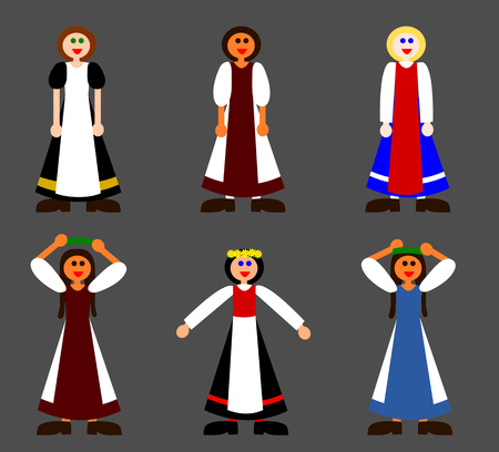 simple girl: Small set of simple folkloric girl characters - flat illustration isolated on gray background