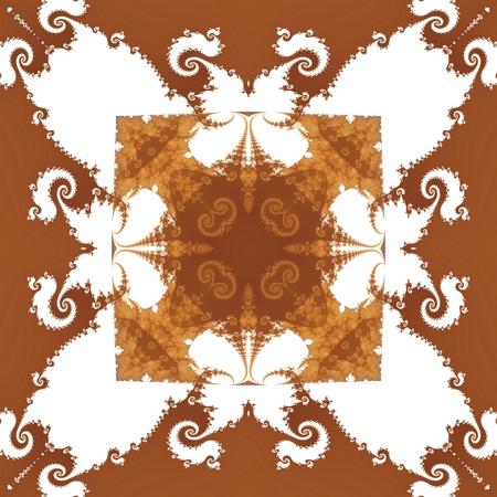 secession: Seamless fractal monochrome brown white decorative retro wallpaper in biedermeier style Stock Photo