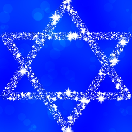 zionism: Hexagram composed of snowflakes on blue background