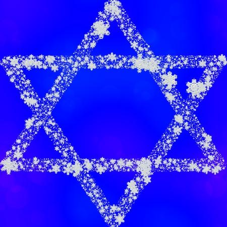 hexagram: Hexagram composed of snowflakes on blue background