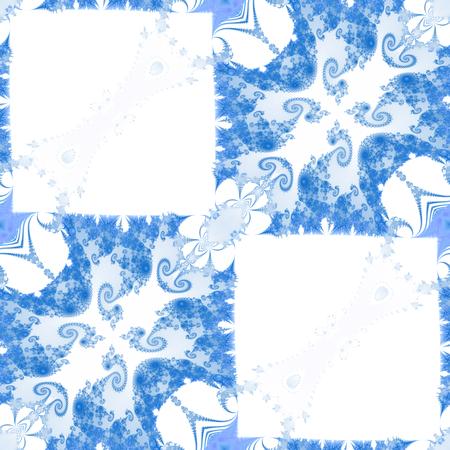monochromatic: Abstract decorative blue white monochromatic fractal tile