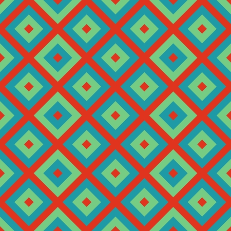 Turquoise orange abstract cubist checkered pattern Stock Photo