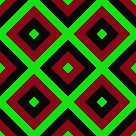 Red green black abstract cubist checkered pattern
