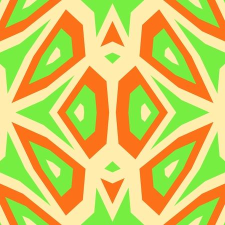 polly: Abstract unusual beige green orange cubist digitally rendered pattern