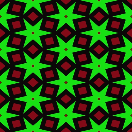 red' green: Abstract red green black seamless starry pattern Stock Photo