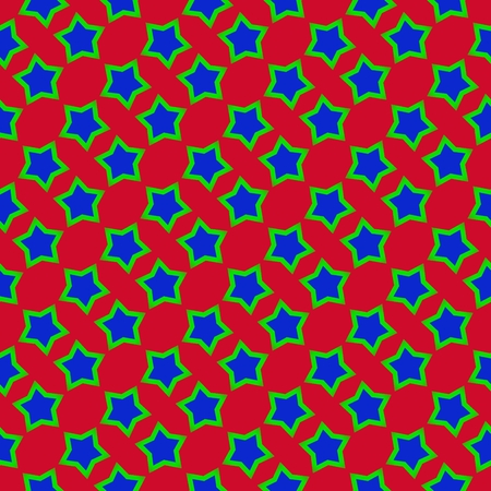steady: Abstract regular red blue green starry pattern