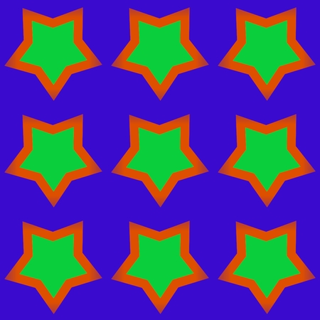 estrellas cinco puntas: Green orange five-pointed stars on violet pattern