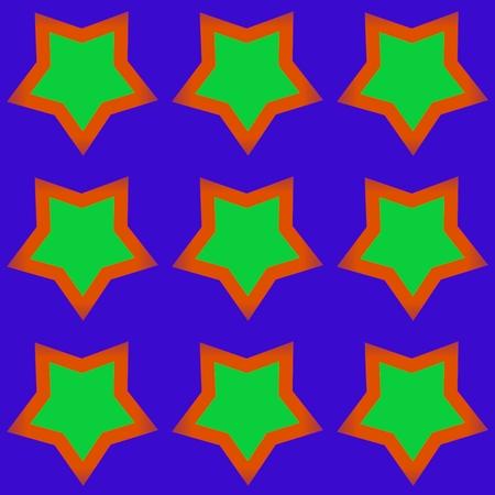 Green orange five-pointed stars on violet pattern