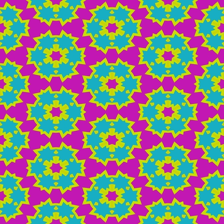 jazzy: Abstract red yellow blue pink floral geometric regular pattern