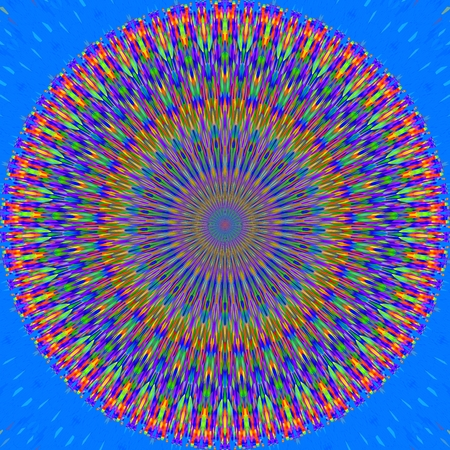 opalescent: Abstract decorative floral blue gold pink radiant mandala - digitally rendered design