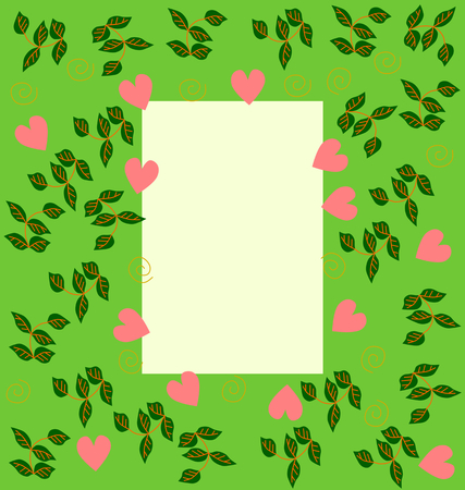 primitivism: Decorative flat graphic herbal frame with sweet hearts