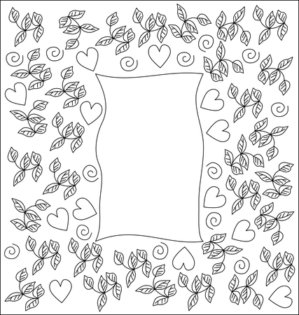 primitivism: Decorative herbal black white outlines frame with sweet hearts Illustration