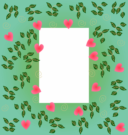 primitivism: Decorative herbal frame with sweet hearts Stock Photo