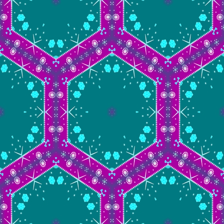 Abstract decorative purple turquoise digital illustration - computer generated background