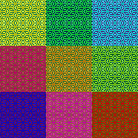 backcloth: Set of colorful iridescent patterns - vibrant geometric wallpapers - digitally rendered design
