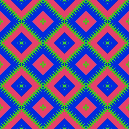 red and blue: Seamless oblique checkered red blue green pattern Stock Photo