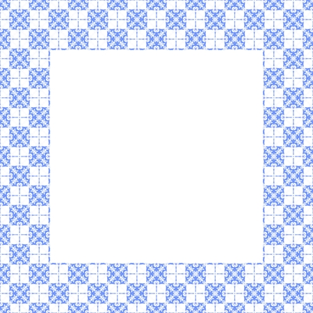 composed: ornamental frame composed of blue white tiles - computer generated design element Stock Photo