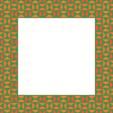 regular: Abstract mosaic kaleidoscope regular green orange frame Stock Photo