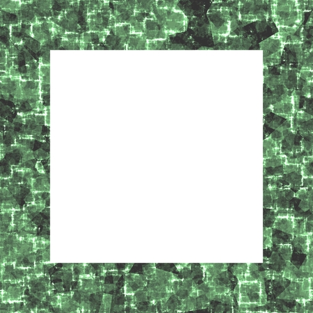 technological: Clear square frame with dark smoky green modern technological pattern