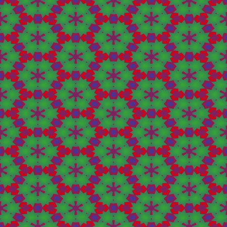 filigree: Abstract hexagonal filigree red green seamless pattern Stock Photo