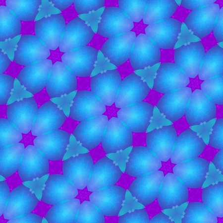Abstract seamless starlit kaleidoscopic blue purple pattern