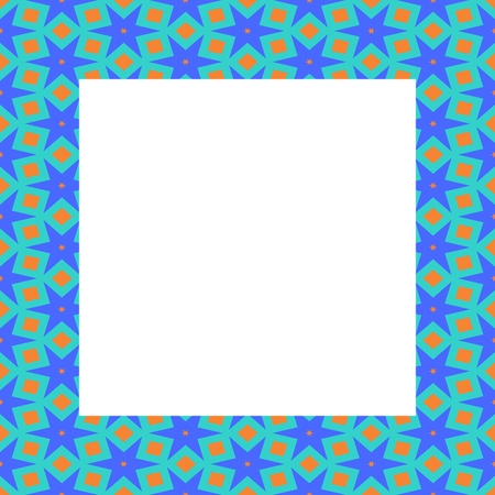 stelle blu: Turquoise frame with blue stars, yellow stains and clear white copyspace
