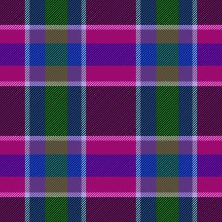 garish: Checkered garish purple blue green cloth pattern - computer generated graphic Stock Photo