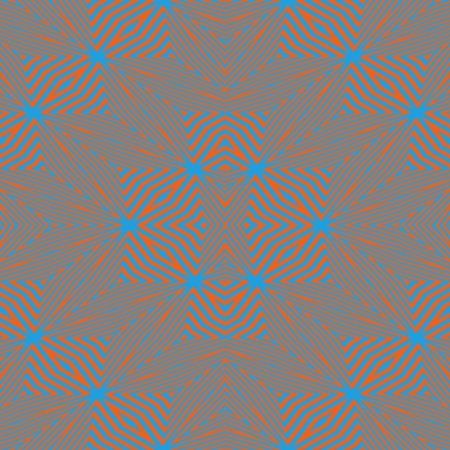 complementary: Abstract kaleidoscope symmetrical regular mirroring orange blue design - digitally rendered graphic - optical illusion gray-inspiring impression through the use of complementary colors Stock Photo