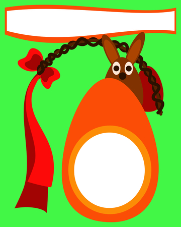 caroling: Easter card with eggs, wicker whip and bunny - simple stylized cartoon vector illustration