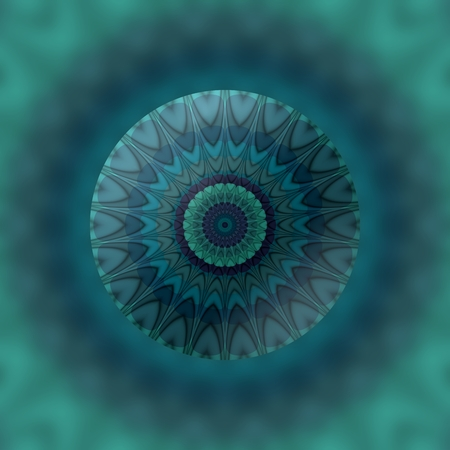 phantasy: Abstract mandala in blue trendy tones with plasticity 3d illusion effect