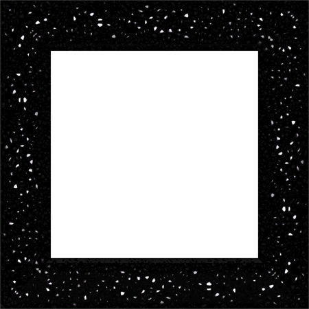extremely: Dark black square frame with bold glittering shards. Extremely decorative effect. Stock Photo
